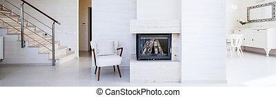 dentro, apartamento, chimenea