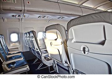 dentro, avión, cabaña