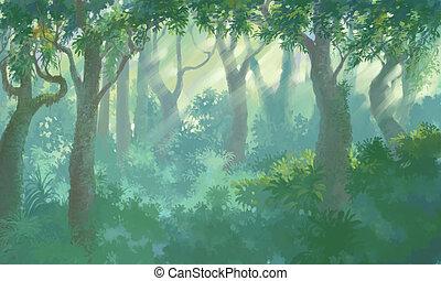 dentro, bosque