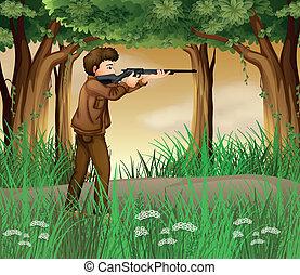 dentro, caçador, selva