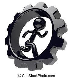 dentro, carácter, gearwheel, corriente, hombre de negocios, ...