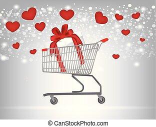 dentro, carro shopping, presente