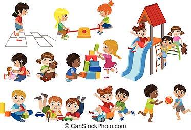 dentro, conjunto, juego, niños