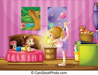 dentro, dormitorio, niñas, dos, joven