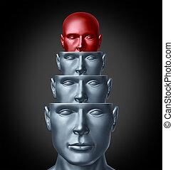 dentro, el, mente creativa