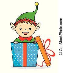 dentro, elfo, regalo, pacchetto