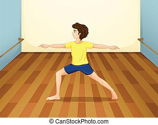 dentro, executar, ioga, sala, homem