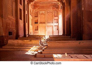 dentro, fatehpur, tumbas, sikri, monumento