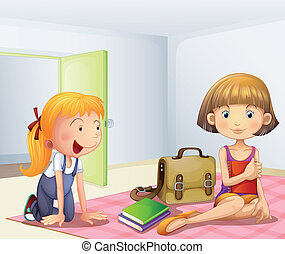 dentro, livros, meninas alojam, dois