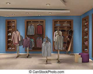 dentro, lleno, tienda, ilustración, 3d
