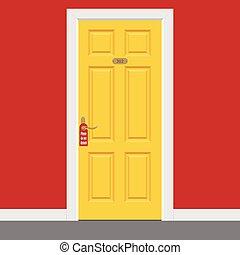 dentro, marco, hotel, puerta, no, cerrado, room., amarillo, por favor, turbar, signo.