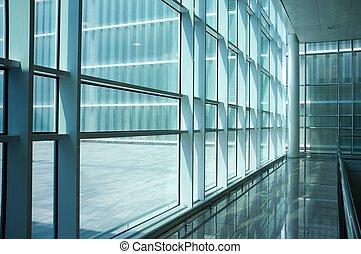 dentro, moderno, edificio.