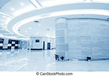 dentro, modernos, corredor, escritório, centro