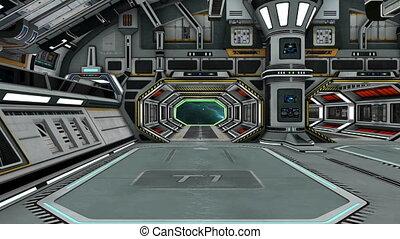 dentro, navio, espaço