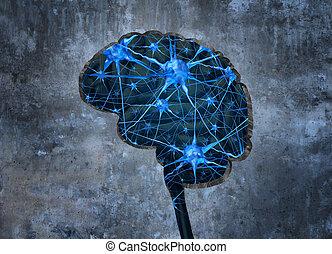 dentro, neurología, humano