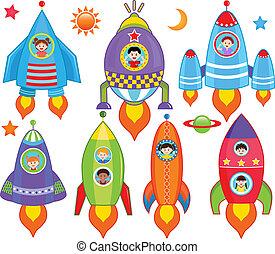 dentro, niños, nave espacial