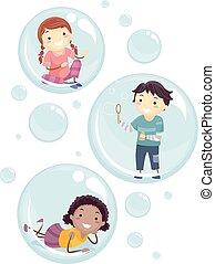 dentro, niños, stickman, burbujas, ilustración