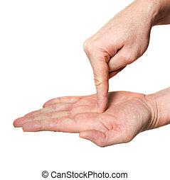 dentro, palma, dedo que señala, mano