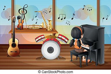 dentro, pianista, espacio música, joven