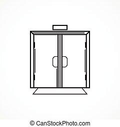 dentro, puerta de vidrio, negro, línea, vector, icono