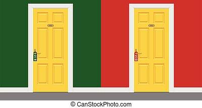 dentro, puertas, marco, hotel, no, turbar, cerrado, ilustración, amarillo, por favor, habitación, m., vector, signo.