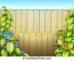 dentro, recinto, iguana