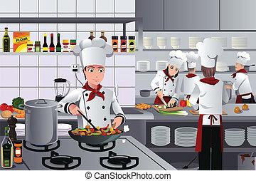 dentro, restaurante, cena, cozinha