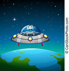 dentro, robô, nave espacial
