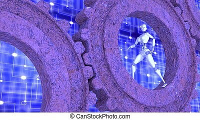 dentro, robot, arrugginito, ingranaggi, femmina, camminare