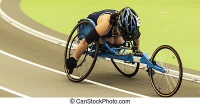 dentro, sílla de ruedas, milla, carreras, atleta