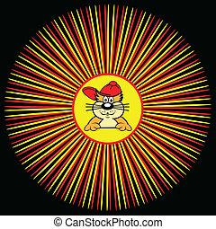dentro, sunburst, caricatura, gato