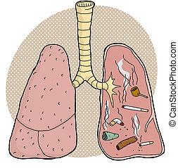 dentro, tabaco, pulmões