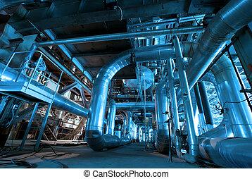 dentro, tubos, energía, planta