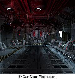 dentro, un, futurista, scifi, nave espacial, 3d,...