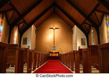 dentro, un, iglesia