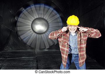 dentro, un, windtunnel