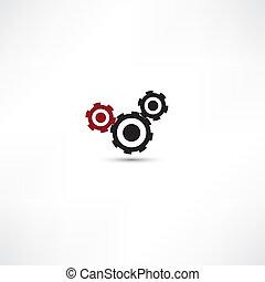 dents, blanc, arrière-plan noir, (gears)