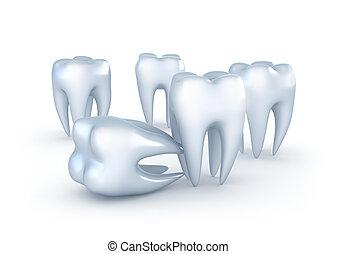dents, blanc, fond