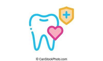 dents, dentiste, animation, icône, assurance