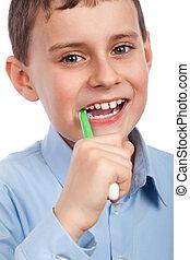 dents, enfant, sien, brossage