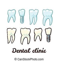 dents, ensemble, épingle, icône, dent