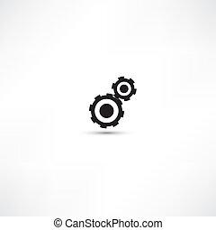 dents, lumière, arrière-plan noir, (gears)