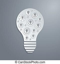dents, lumière, concept., créativité, vecteur, gears., ampoule