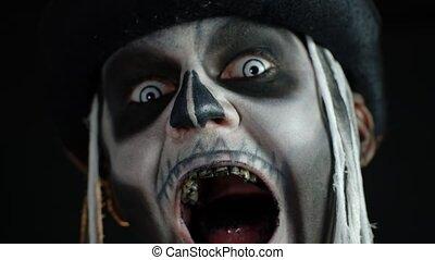dents, panique, sale, sien, noir, ouverture, bouche, ...