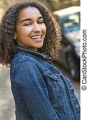 dents parfaites, américain, course, adolescent, africaine, mélangé, girl