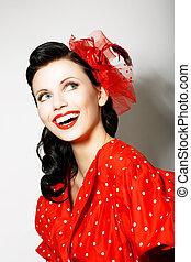 dentudo, mujer, elation., sujetar, retro, retrato, sonriente, vestido, style., rojo, feliz