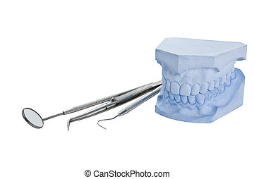 Denture cast model and dental tools set