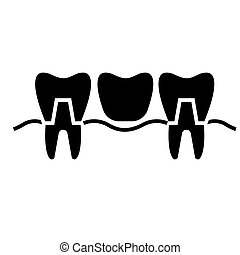 denture icon, vector illustration, black sign on isolated background