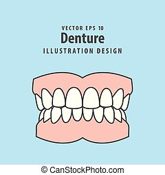 Denture illustration vector on blue background. Dental concept.
