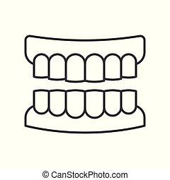 Denture outline icon, pixel perfect vector illustration